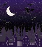Moon Nacht mit dem Fliegen des Hexenschattenbildes, nahtloses Muster Lizenzfreie Stockfotos