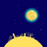Moon nel cielo sopra il divertimento del paesaggio Fotografia Stock Libera da Diritti