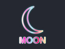 Moon neon sign. The gradient of the contour crescent moon on a black background. Vector Stock Images