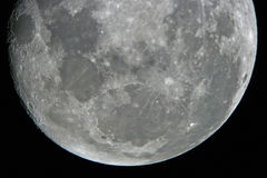 Moon at night. Astrophotography. Moon by the telescope Royalty Free Stock Images