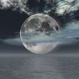 Moon night. Fantasy moon night over the ocean Stock Photography