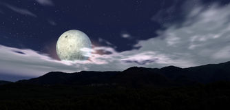 Moon night 5. Mountain landscape on blue sky and fullmoon Stock Photos