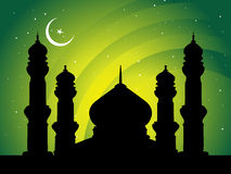Moon night background of mosques Stock Images
