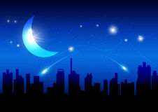 Moon and night of city Royalty Free Stock Images