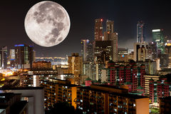 Moon Night City Stock Photography