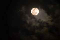 Moon. At night A cloud passed over Stock Image