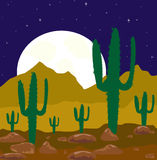 Moon night in desert Royalty Free Stock Image