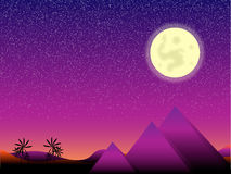 Moon night in Egypt. With pyramids and palms Royalty Free Stock Image