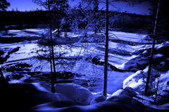 Moon night in forest lake with water torrent Stock Photos