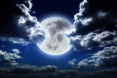 Moon at night in galaxy stars sky Royalty Free Stock Images
