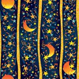 Moon night golden line music vertical seamless pattern. This illustration is design golden glitter line vertical with moon night abstract moonlight sailor in Royalty Free Stock Image