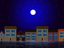 Moon Night Indicates Astronomy House And Residential Royalty Free Stock Images