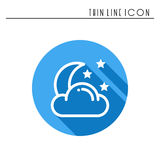 Moon night line simple icon. Weather symbols. Dream, sleep. Design element. Template for mobile app, web and widgets. Vector style linear icon. Illustration Stock Image