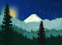 Moon night in mountains forest Royalty Free Stock Photos