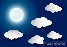 Moon night paper cut illustration style. Royalty Free Stock Photo