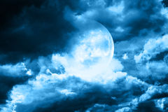 Moon in night sky Royalty Free Stock Images