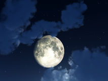 Moon Night Sky. An image of a moon within some nightime clouds Stock Photos