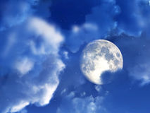Moon Night Sky 6. An image of a moon within some nightime clouds Stock Photography
