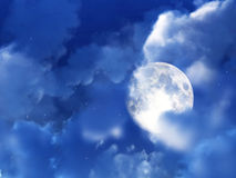 Moon Night Sky 8. An image of a moon within some nightime clouds Stock Photo