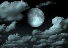 The moon in the night sky. In clouds 3D illustration stock illustration