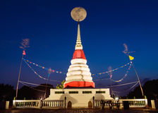 Moon on night sky over white pagoda. royalty free stock images