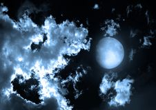 Moon in the night sky. Elements of this image furnished by NASA Stock Photos