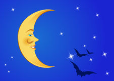 Moon in the night sky with stars and bats. The moon with a face and a mustache in the night sky with stars and bats Stock Photography