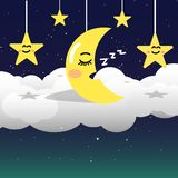 Moon in night sky with stars on space and galaxy background, goo vector illustration