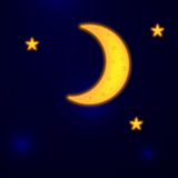 Moon Night Sky With Stars. Vector Royalty Free Stock Photo