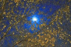 The moon in the night sky on a super moon. January 31, 2018 stock photo