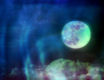 Moon at night with stars and aurora light Royalty Free Stock Photo