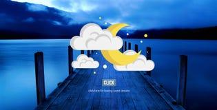 Moon Night Stars Clouds Sleep Concept Royalty Free Stock Image