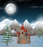 A moon night winter scene. Illustration royalty free illustration