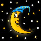 Moon in nightcap with stars Royalty Free Stock Images