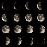 Moon o planeta do sistema solar na rendição preta do fundo 3d Imagens de Stock