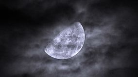 Moon in cloudy sky and dramatic dark clouds stock images