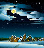 Moon- och husvinter Arkivbilder