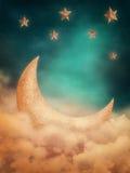Moon och stjärnor Fotografering för Bildbyråer