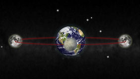 Moon orbit. 3d rendering of moon orbit around the earth Stock Photography
