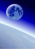 Moon on the orbit, near Earth. Vector illustration Royalty Free Stock Images