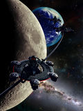 Moon orbital station. Space station surrounding the Moon in its orbit Royalty Free Stock Photos