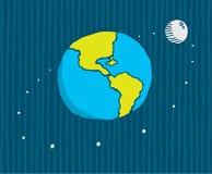 Moon orbiting the earth. Cartoon illustration of moon orbiting the earth royalty free illustration