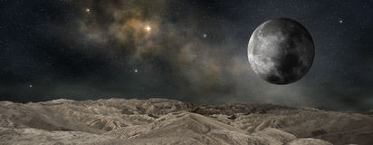 Moon orbiting an outer planet Royalty Free Stock Photography