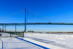 Moon Over Ambassador Bridge Royalty Free Stock Image