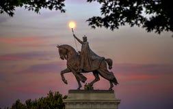 Moon over St. Louis Statue in St. Louis, Missouri. The moon over the Apotheosis of St. Louis statue of King Louis IX of France, namesake of St. Louis, Missouri Stock Images