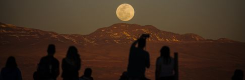 Moon over Atacama Desert in Chile Royalty Free Stock Photo
