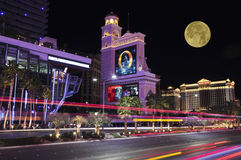 A Moon Over the Bellagio and Caesars Palace Stock Photography