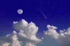 Moon over blue sky Royalty Free Stock Photo