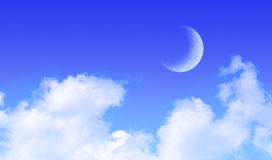 Moon over Blue Sky Clouds Royalty Free Stock Photos