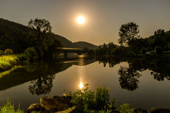 Moon over Bridge royalty free stock images